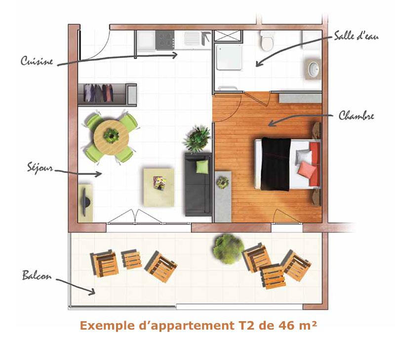 t2 louer dans une r sidence services seniors neuve marseille saint loup. Black Bedroom Furniture Sets. Home Design Ideas